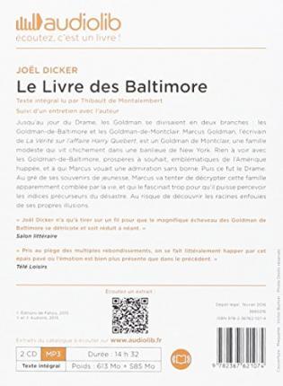 le livre des baltimore livre audio 2 cd mp3 suivi dun entretien avec lauteur