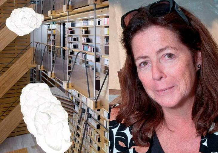A gauche : vue sur la bibliothèque de la fondation Jan Michalski en Suisse (Photo: Leo Fabrizio). A droite : Portrait de Véra Michalski ( Photo: Yves Leresche)