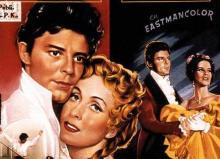 Gros plan sur l'affiche du film de Claude Autant-Lara avec Gérard Philippe et Danielle Darrieux tiré du roman de Stendhal